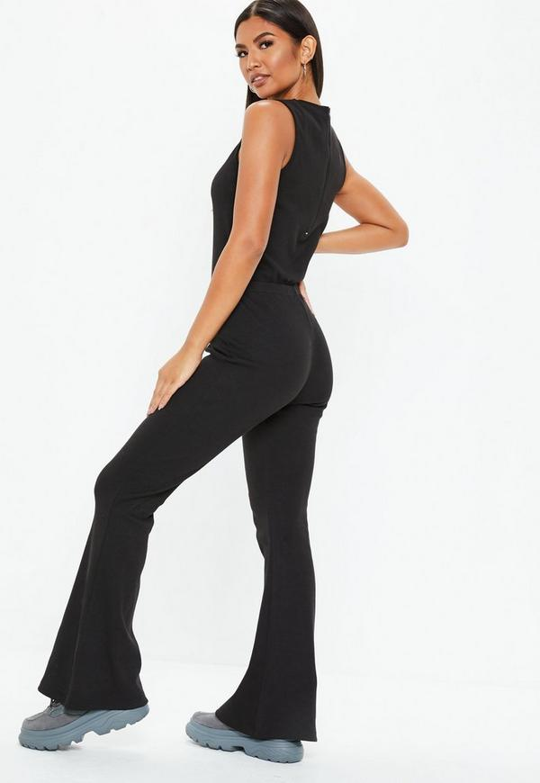 Black Rib Flare Leg Sleeveless Jumpsuit by Missguided