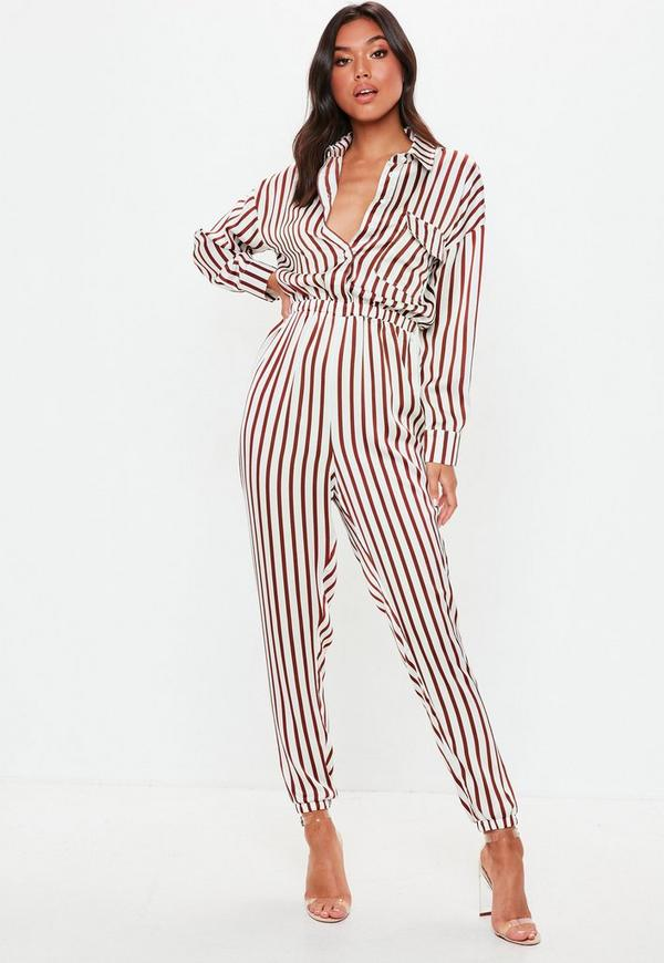 b25fe9133825 White Stripe Utility Jumpsuit