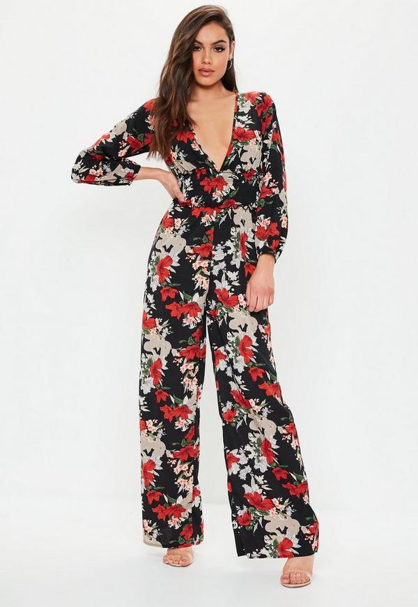 b52b0f0ad2e Black Floral Shirred Jumpsuit