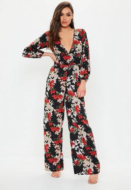 5a192ff50563 Red Floral Satin Flared Jumpsuit