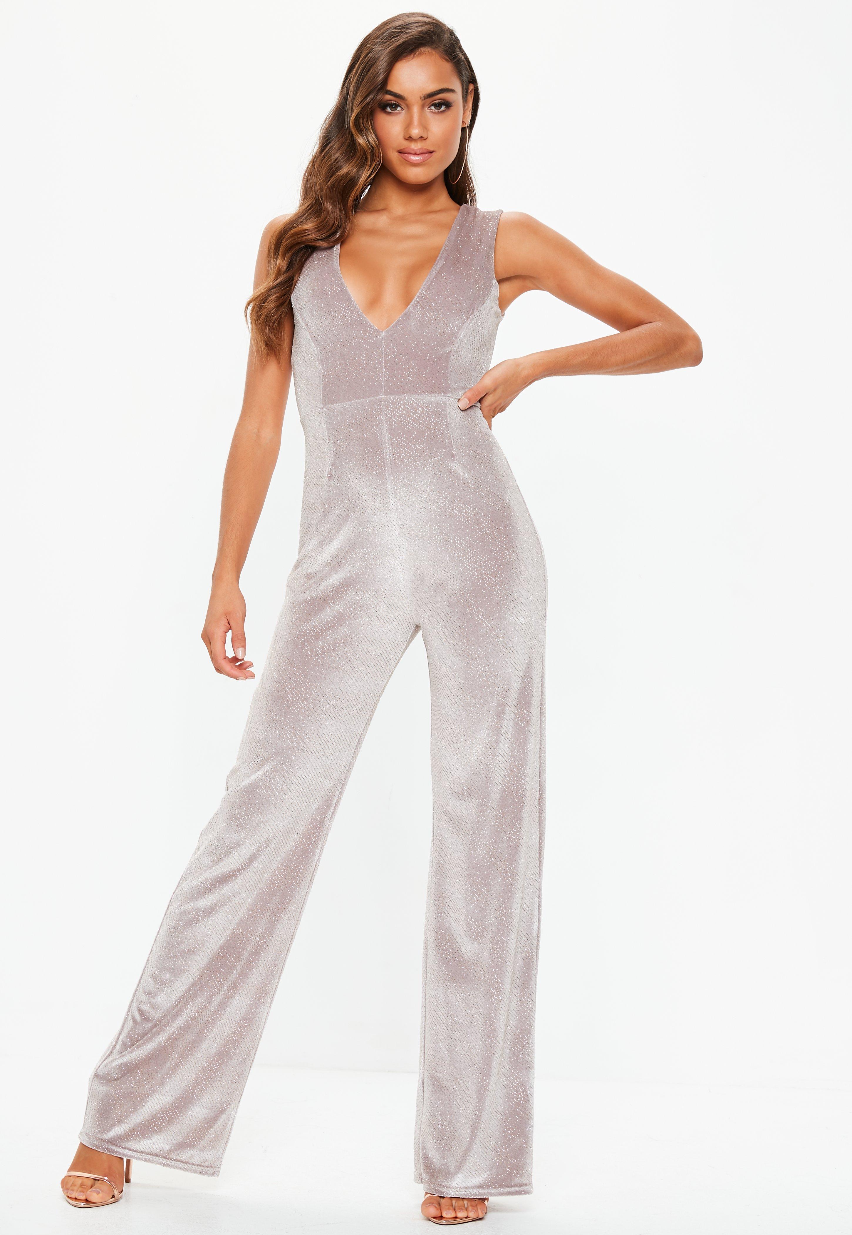 10923e9431 Pink Velvet Glitter Wide Leg Plunge Jumpsuit