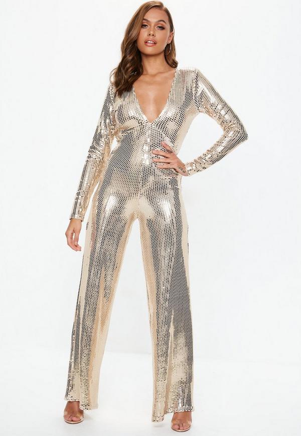 425739212d Gold Plunge Sequin Jumpsuit