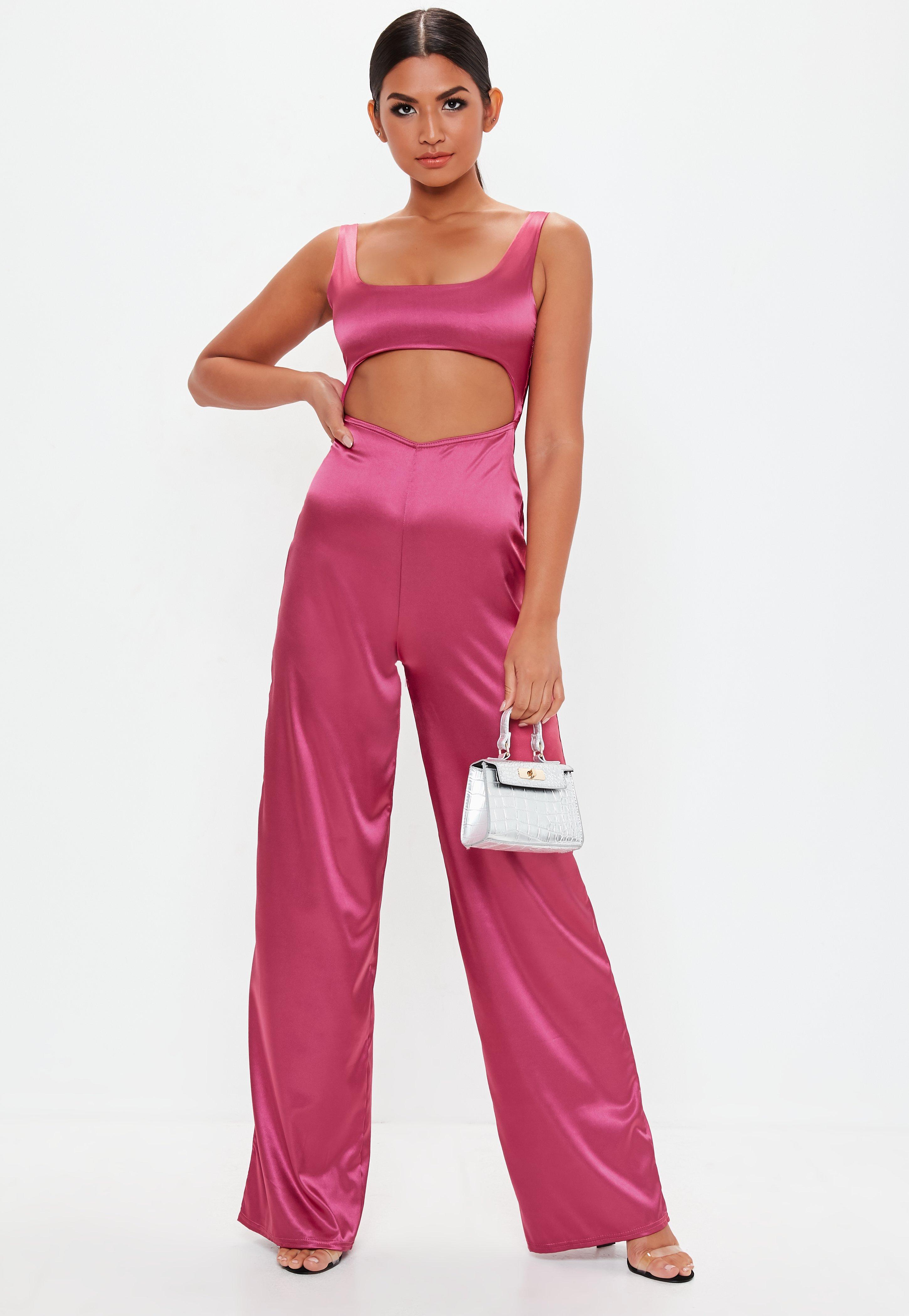0cf0b61bfba8 Pink Cut Out Satin Jumpsuit