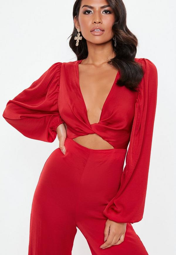 e15df1b84f2 ... Red Satin Knot Front Wide Leg Jumpsuit. Previous Next