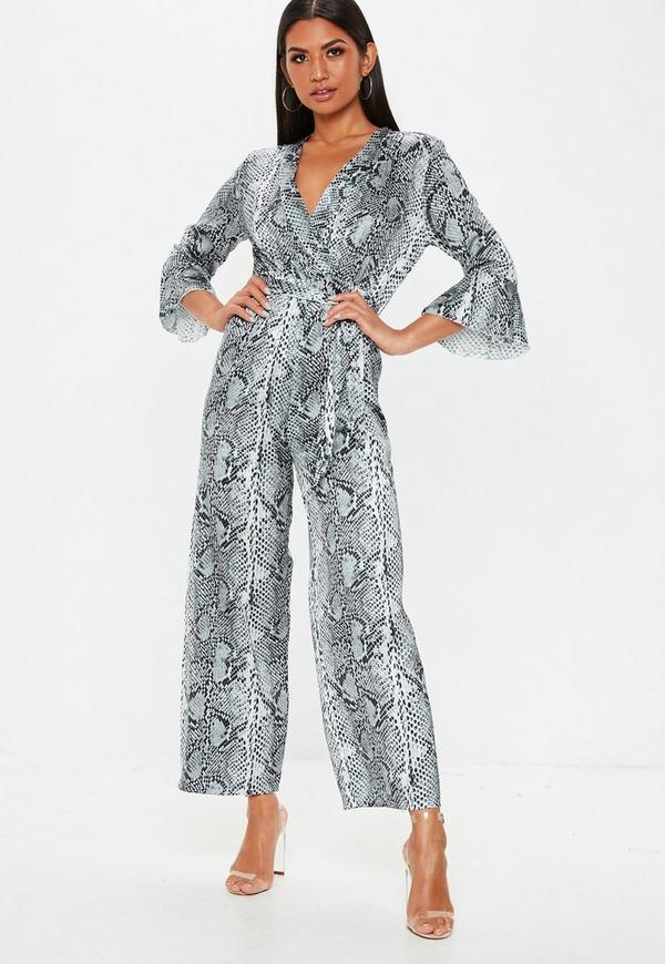 5bec74f2bb2 Grey Satin Snakeprint Kimono Sleeve Jumpsuit