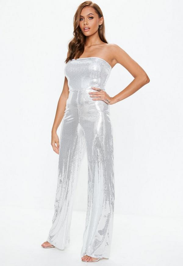 Silver Sequin Bandeau Jumpsuit | Missguided