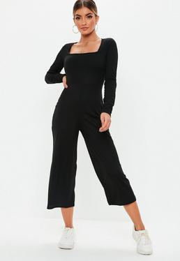 3c63564d971 Black Ribbed Pocket Jumpsuit  Black Square Neck Rib Culotte Jumpsuit