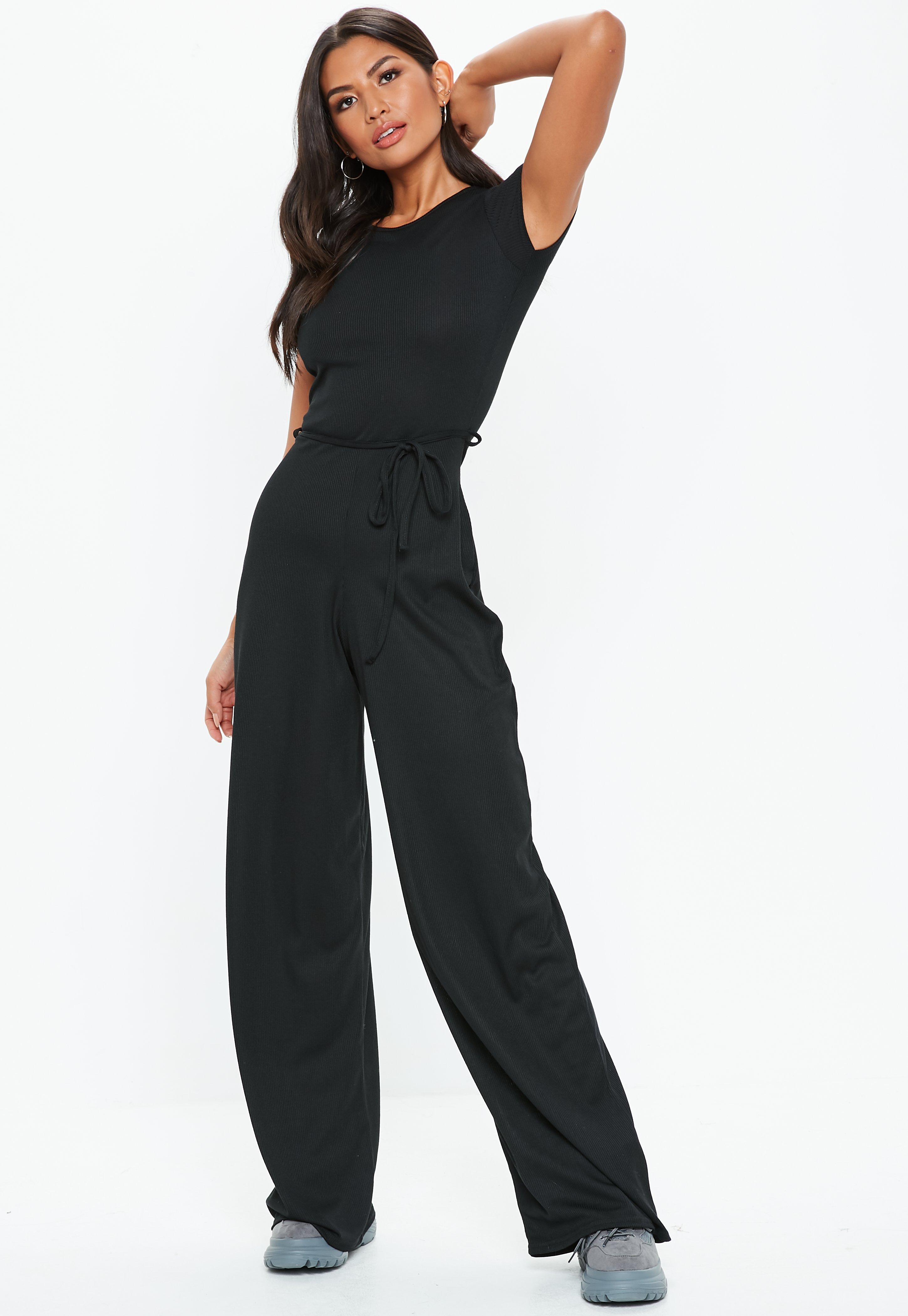Women's Clothing Missguided Black Corset Front Wide Leg Jumpsuit