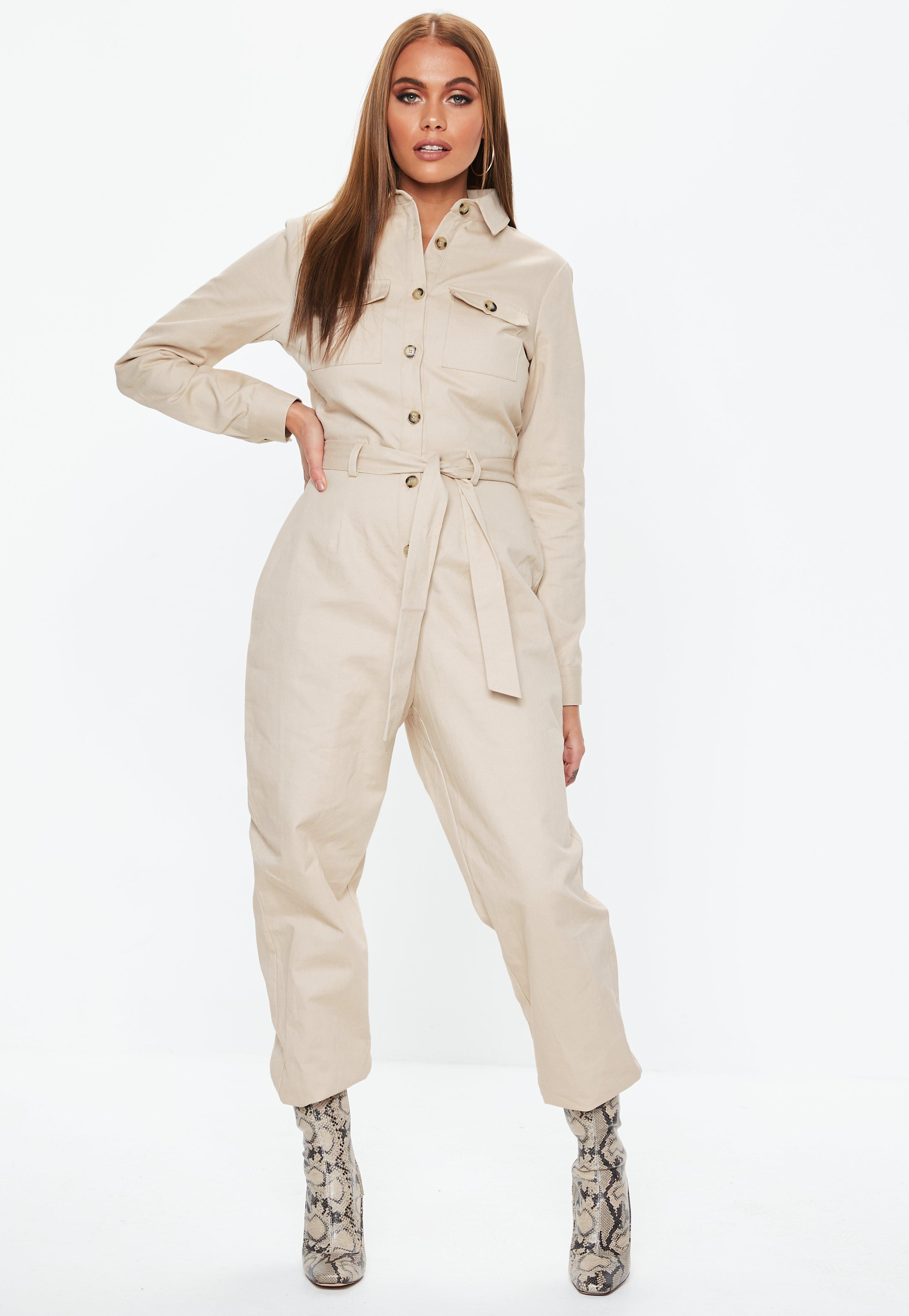 8bc8fb71f26a Sand Belted Utility Jumpsuit