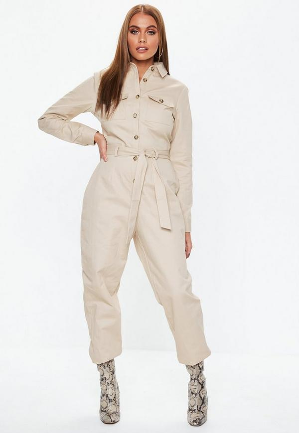 279414848d4 Sand Belted Utility Jumpsuit