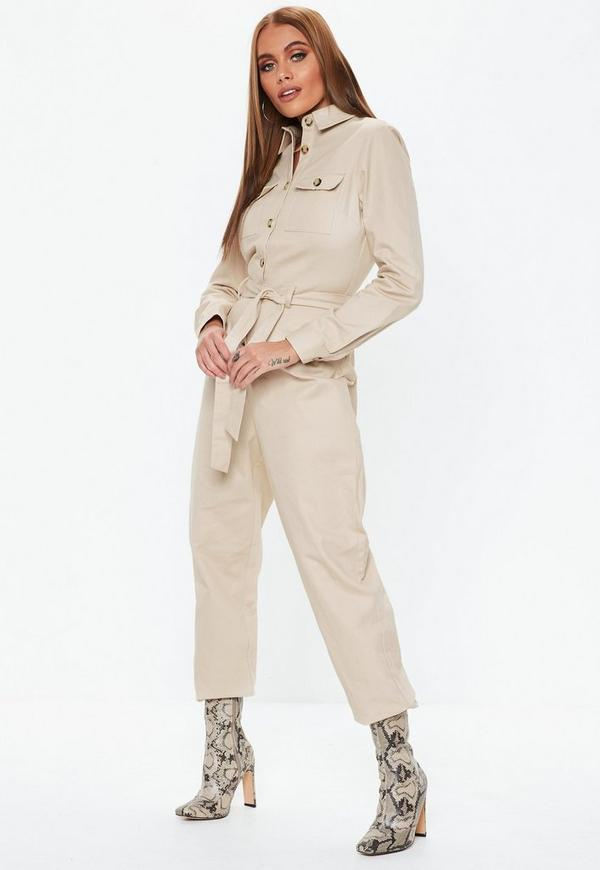 392769539cf Sand Belted Utility Jumpsuit. Previous Next