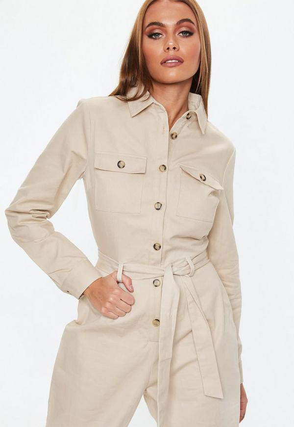 4bea2a396ea1 Sand Belted Utility Jumpsuit. Previous Next