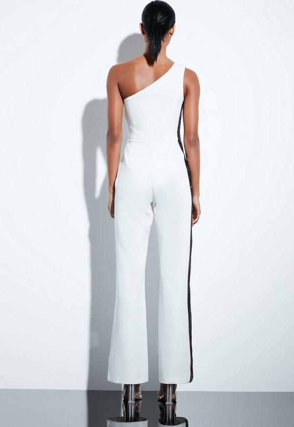 7dc3baac0e2ae6 Peace + Love White Sequin Side Panel Tailored One Shoulder Jumpsuit ...