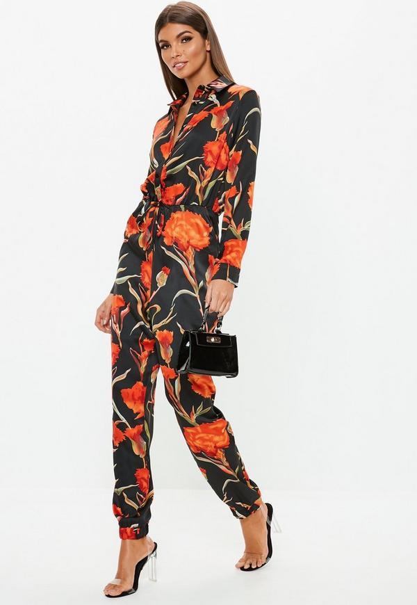 8b6149c5c9 Black Floral Print Utility Jumpsuit