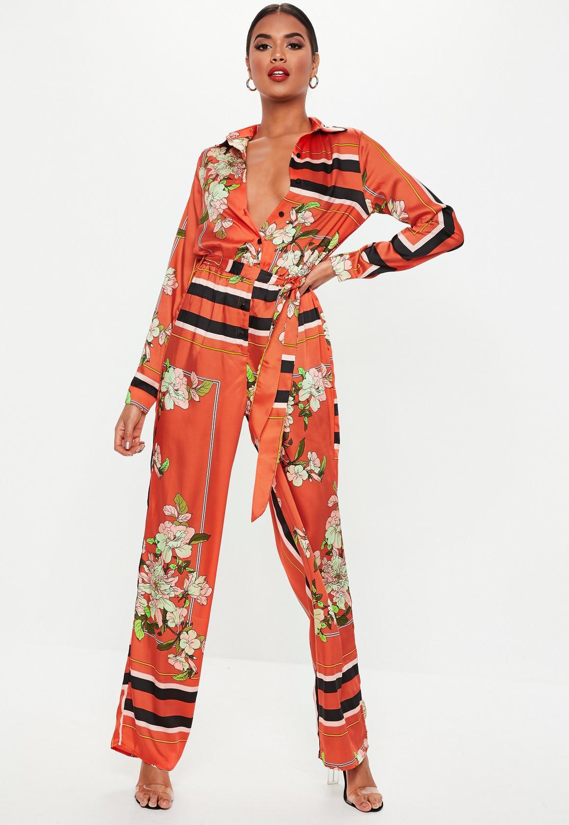 0c01e4c2c0 Red Floral Print Wide Leg Jumpsuit. Previous Next