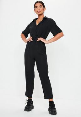 52ae2221b88e ... Black Short Sleeve Utility Jumpsuit