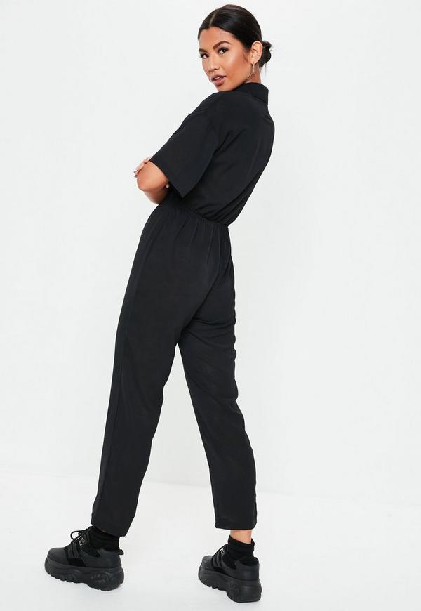 5dd5e49ec92 ... Black Short Sleeve Utility Jumpsuit. Previous Next