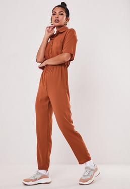 9c42eed84c58 Terracotta Short Sleeve Utility Jumpsuit