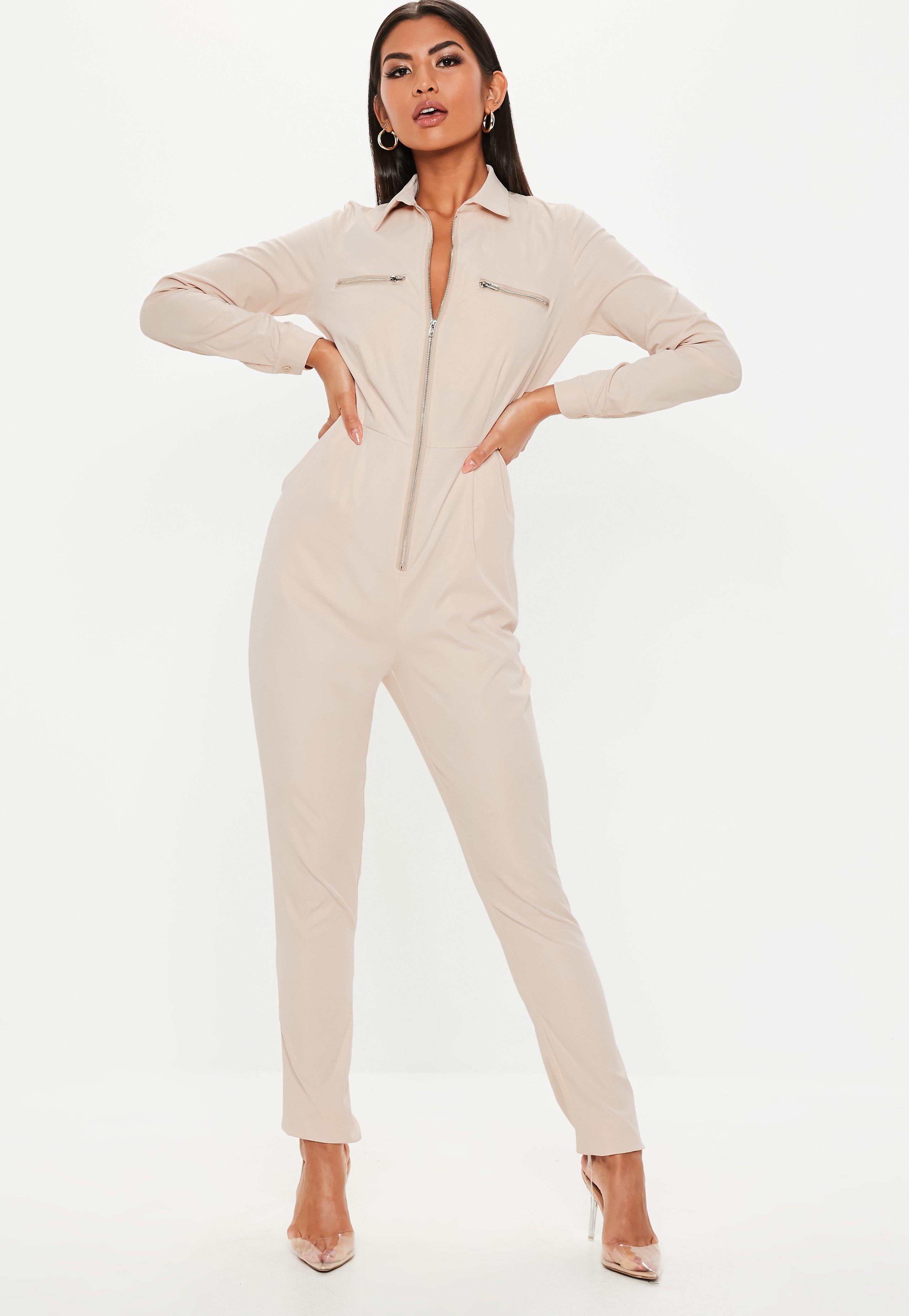 248c76e230c0 Sand Zip Long Sleeve Utility Jumpsuit