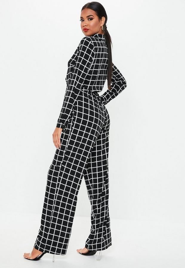 Missguided - Grid Print Long Sleeve Tie Front Jumpsuit - 4