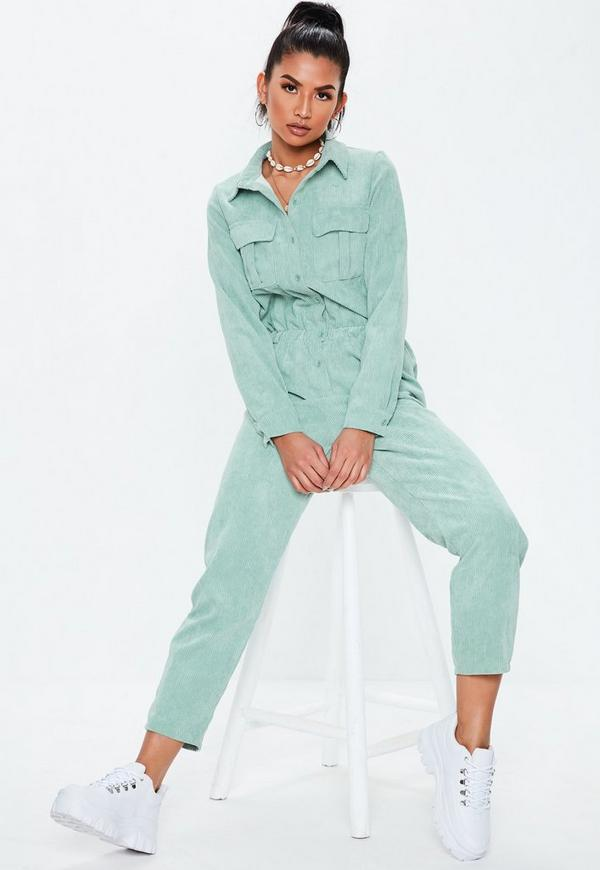 ea4ef9686ae Green Cord Utility Jumpsuit