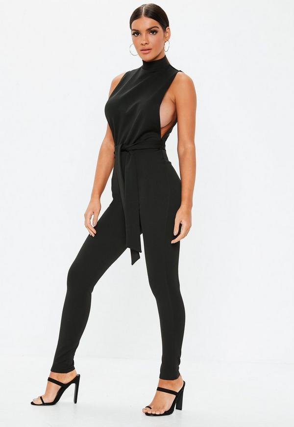 ab049e9bf1c Black Denim Utility Belted Wide Leg Jumpsuit