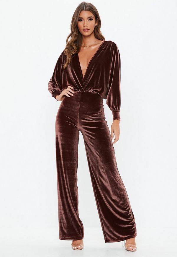 Chocolate Velvet Plunge Jumpsuit Missguided