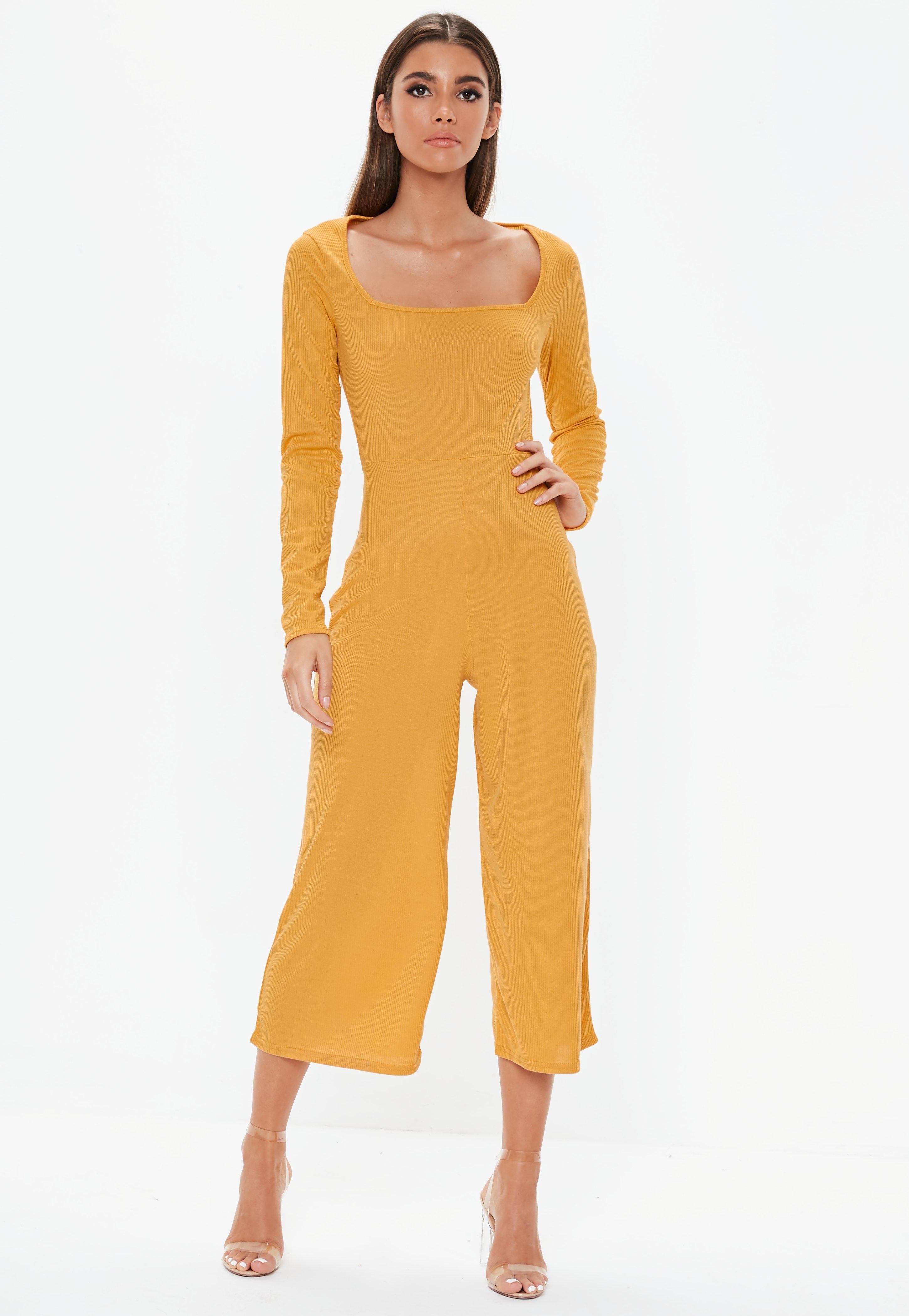 75b0ec4adb00 Mustard Square Neck Ribbed Culotte Jumpsuit