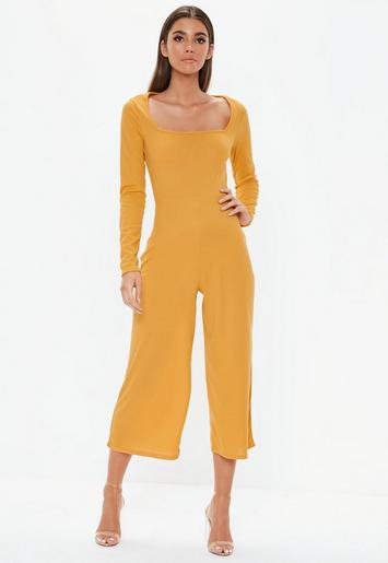 eecf4fec8a Mustard Square Neck Ribbed Culotte Jumpsuit