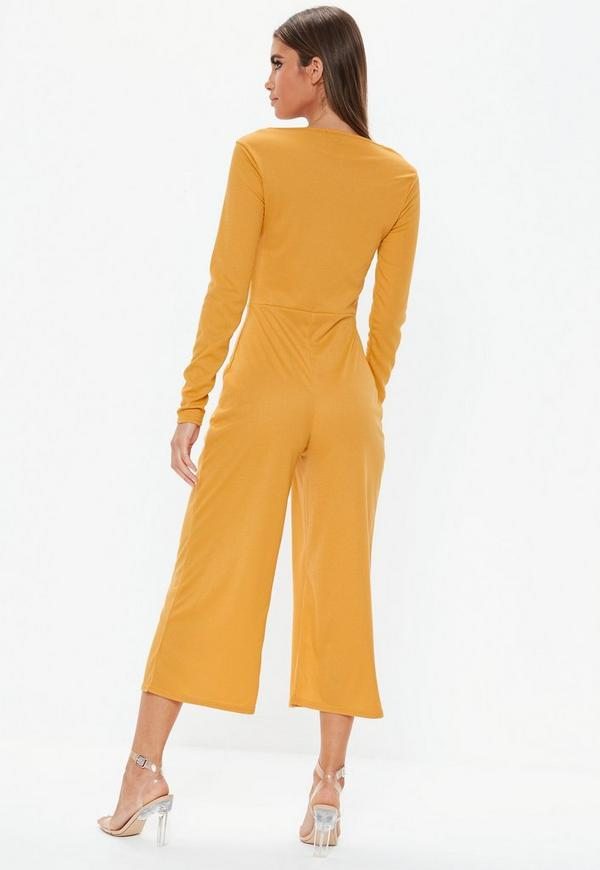 86a3437636d4 Mustard Square Neck Ribbed Culotte Jumpsuit. Previous Next