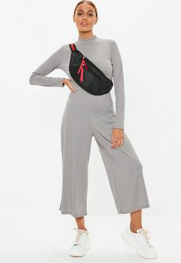 3a1f6fc40704 Red Contrast Stitch Culotte Jumpsuit  Gray High Neck Ribbed Culotte Jumpsuit