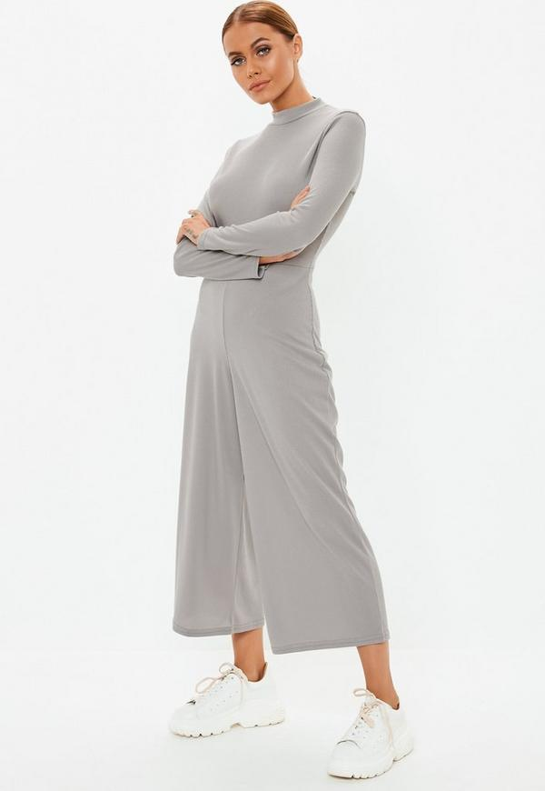 14fa1f43c965 Grey High Neck Ribbed Culotte Jumpsuit. Previous Next