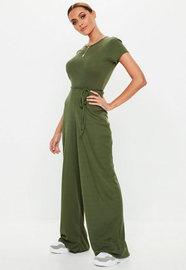 91f0b1c26b3f Khaki Ribbed Short Sleeve Wide Leg Jumpsuit
