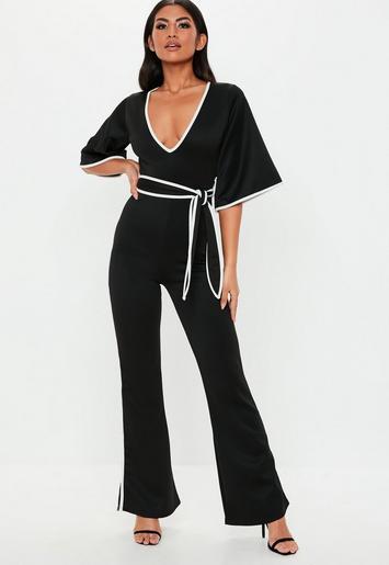 Black Contrast Edge Plunge Kimono Jumpsuit