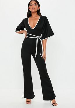 37c7637f440 Black Contrast Edge Plunge Kimono Sleeve Jumpsuit
