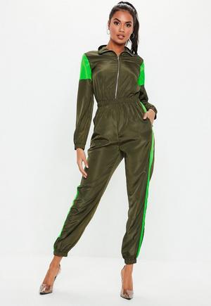 ced19e79a00 £35.00. neon green colourblock shell jumpsuit