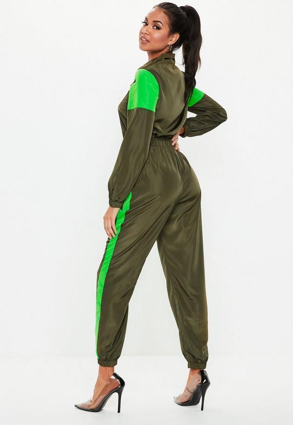 69dfcf4a7dd Neon Green Colourblock Shell Jumpsuit. Previous Next