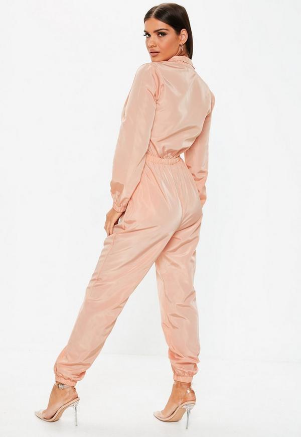 6d948478d3ef Pink Zip Front Long Sleeve Shell Jumpsuit