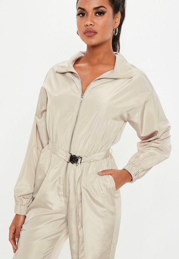 7355fc94e066 Stone Belted Shell Jumpsuit. Previous Next