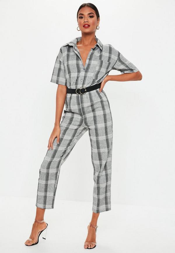 e9f3aea9fca Grey Check Print Short Sleeve Jumpsuit