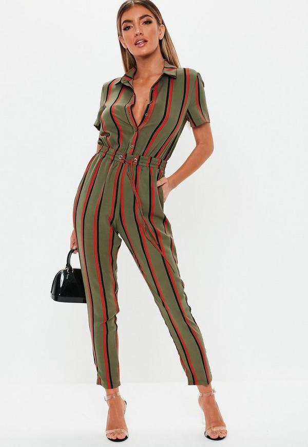 b9271e04e90 Khaki Stripe Short Sleeve Jumpsuit