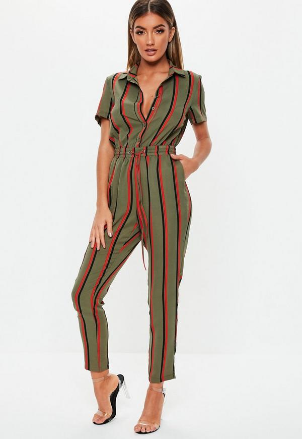 0fba7212ae7 Khaki Stripe Short Sleeve Jumpsuit. Previous Next
