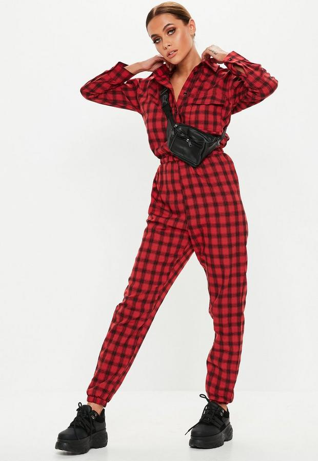 Missguided - Check Long Sleeve Utility Jumpsuit - 2