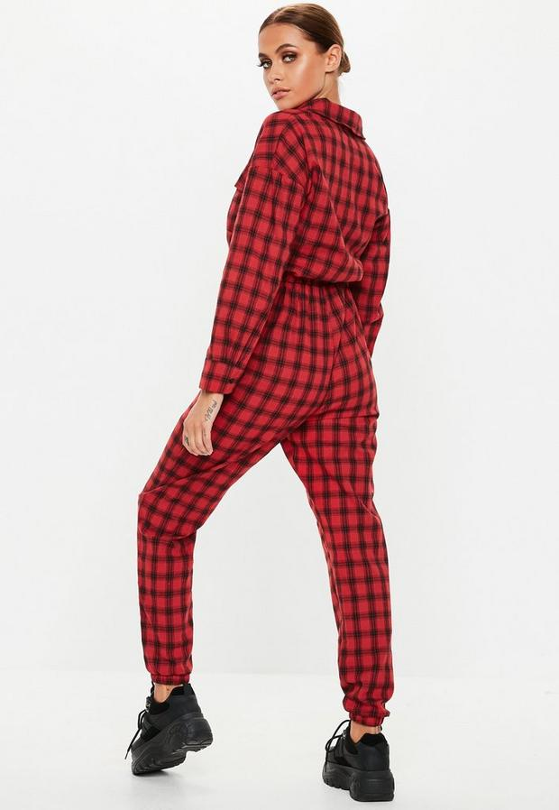 Missguided - Check Long Sleeve Utility Jumpsuit - 4