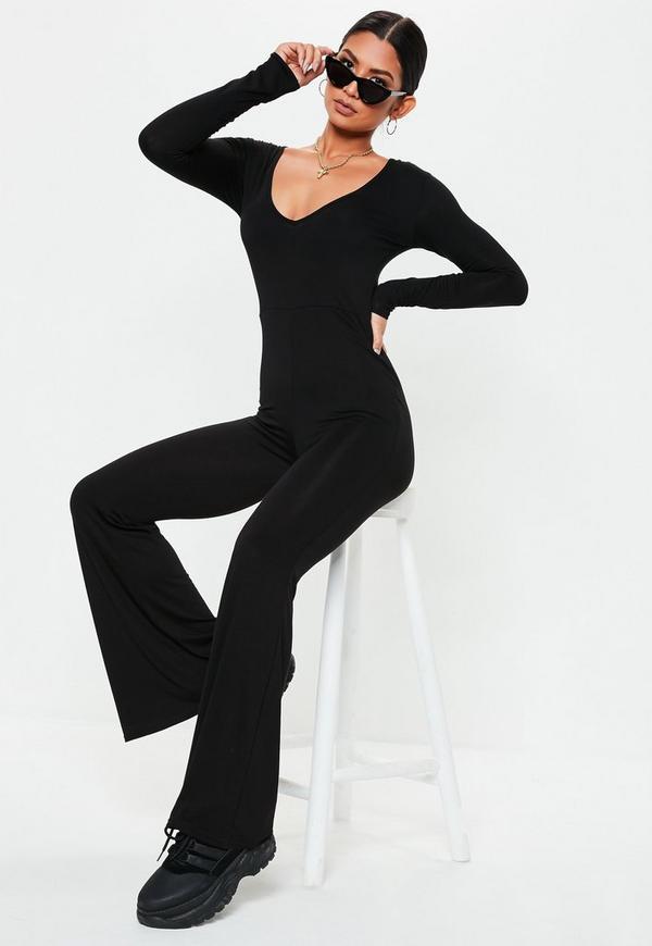 38d1f5864f4 Black V Neck Flare Long Sleeve Jumpsuit