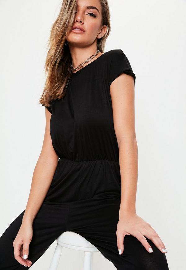 a5959704721 Black Cap Sleeve Jersey Jumpsuit. Previous Next