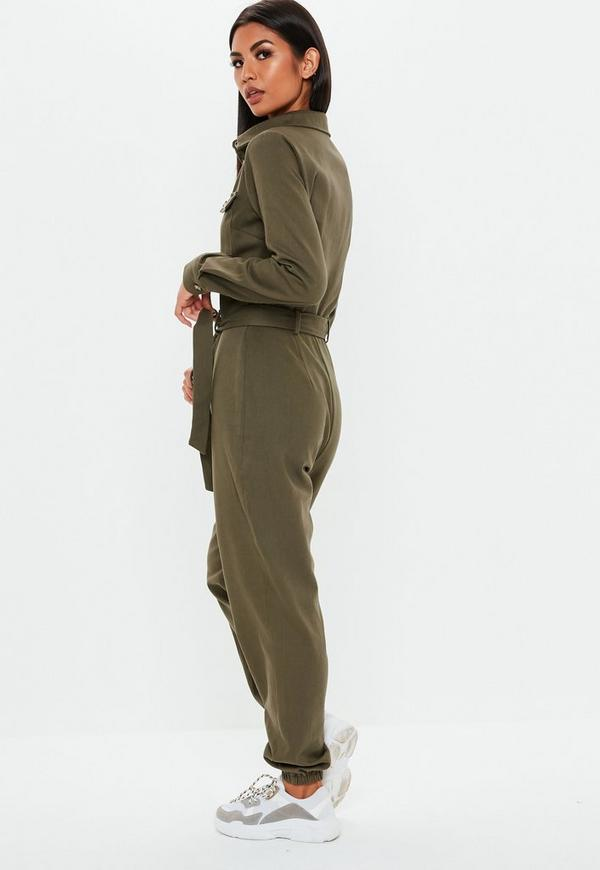 81e3026931a7 ... Khaki Utility Long Sleeve Jumpsuit. Previous Next