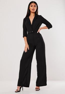 81785dc97c1d Camel Ribbed Pocket Jumpsuit · Black Wide Leg Blazer Style Jumpsuit