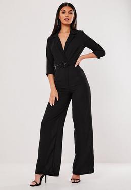53b612f258a7 Rust Straight Leg Blazer Jumpsuit · Black Wide Leg Blazer Style Jumpsuit