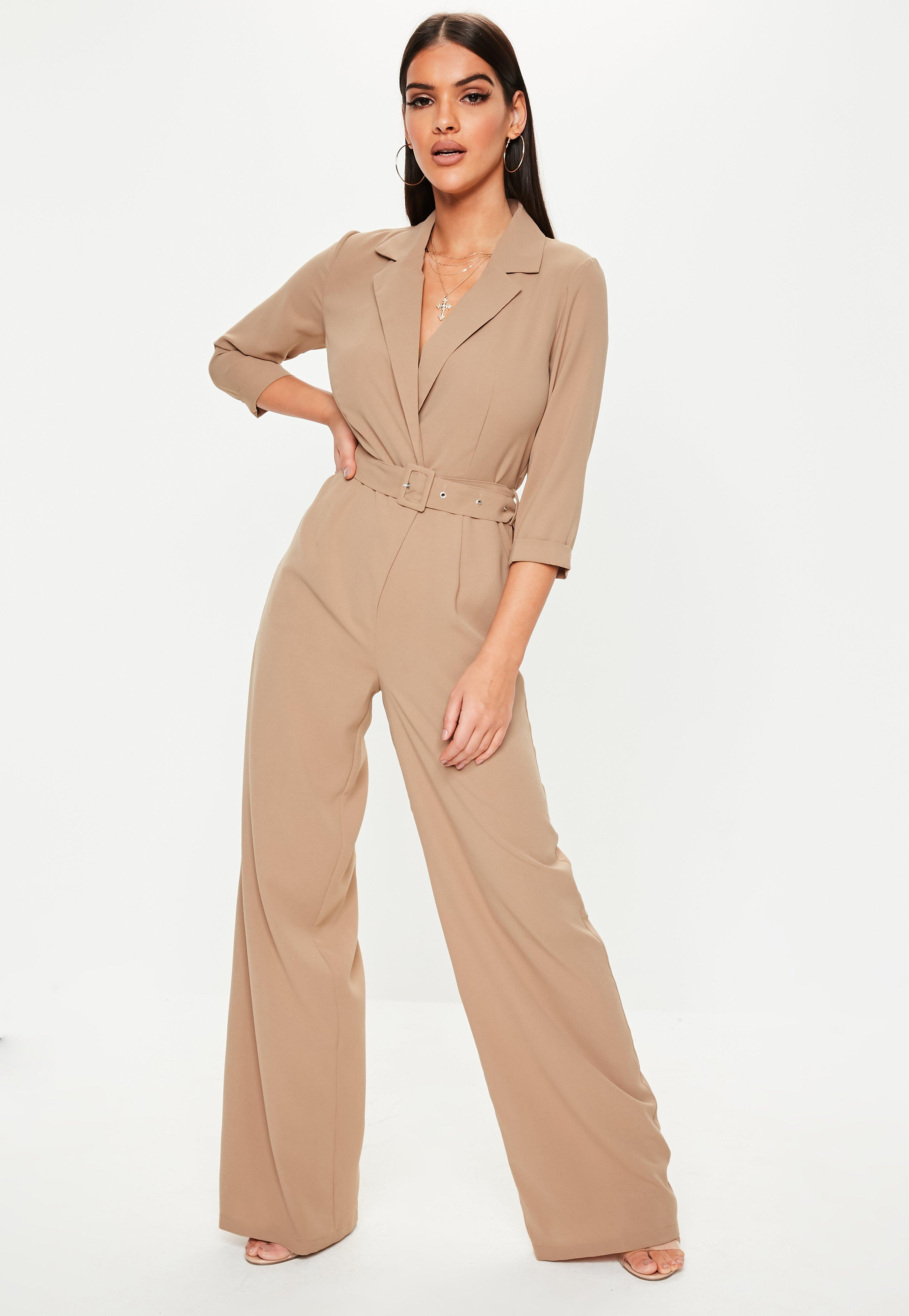 3787e900f3 Stone Wide Leg Belted Wrap Jumpsuit